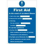 First Aid In the Event of Accident/Illness Signs
