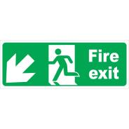 Fire Exit Arrow Diagonal Left & Down Signs