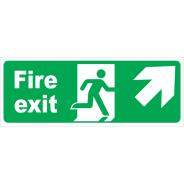 Fire Exit Arrow Diagonal Right & Up Signs