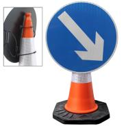 Reversible Blue Arrow Cone Sign
