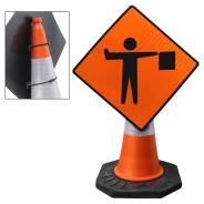 Flag man Ahead Cone Sign
