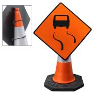 Slippery Road Cone Sign