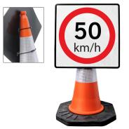 """Cone Mountable """"50KM Speed Limit"""" Square Sign"""
