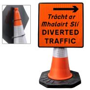 """Cone Mountable """"Diverted Traffic Right"""" Square Sign"""