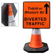 """Cone Mountable """"Diverted Traffic Up"""" Square Sign"""