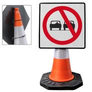 """Cone Mountable """"No Overtaking"""" Square Sign"""